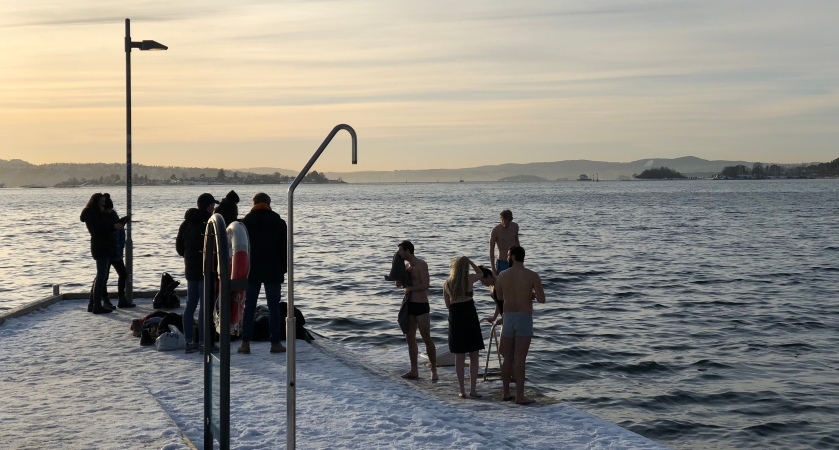 Winter swimming in Oslo fjord.